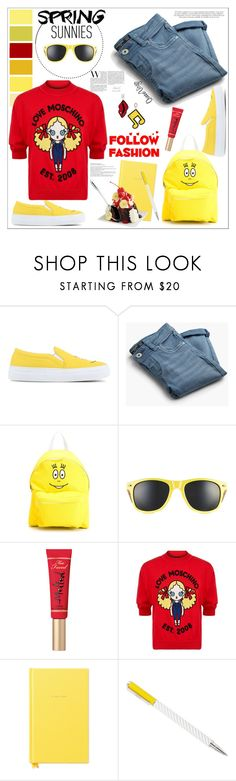 """Spring Sunnies & Smiley Faces"" by queenvirgo ❤ liked on Polyvore featuring Joshua's, MANGO, Too Faced Cosmetics, Love Moschino, Kate Spade and BergHOFF"