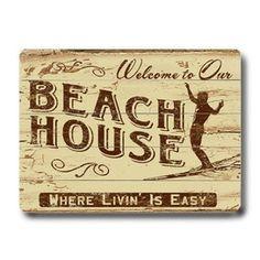 Artehouse LLC Personalized 'Welcome Beach House' Graphic Art Beach House Signs, Home Signs, Beachy Signs, Cottage Signs, Beach Cottage Style, I Love The Beach, Vintage Room, Nautical Home, Beach Condo