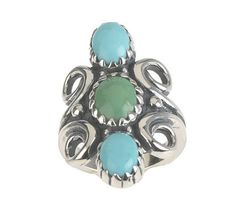Smithsonian Shades of Turquoise Elongated Sterling Ring