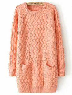 Pink Long Sleeve Diamond Patterned Pockets Sweater