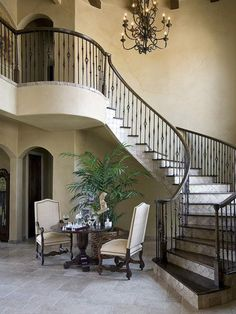 Beautiful Mediterranean Style Winding Staircase - Discover home design ideas, furniture, browse photos and plan projects at HG Design Ideas - connecting homeowners with the latest trends in home design & remodeling Winding Staircase, Staircase Railings, Stairways, Interior Staircase, Spiral Staircases, Dream Home Design, My Dream Home, House Design, Dream Homes