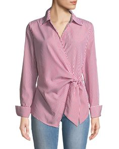 Women's Designer Tops at Neiman Marcus Last Call, Neiman Marcus Faux-Wrap Long-Sleeve Striped Blouse. Blouse Styles, Blouse Designs, Neiman Marcus, Hijab Fashion, Fashion Outfits, Moda Chic, Blouse Dress, Blouses For Women, Women's Blouses