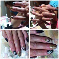 DIY | nails | stripes | glitter | nail stones