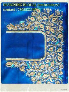 Wedding Saree Blouse Designs, Silk Saree Blouse Designs, Aari Embroidery, Embroidery Neck Designs, Magam Work Blouses, Maggam Work Designs, Sari Design, Sumo, Back Neck Designs