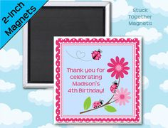 Ladybug Birthday or Shower Favor Magnets by Stuck Together Magnets, 10 magnets for $23.00