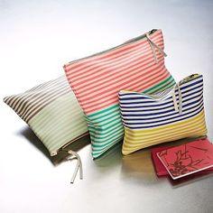 Leather Stripe Zipper Cases (navy/yellow)
