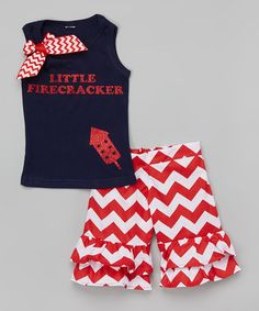 Look at this #zulilyfind! Red 'Firecracker' Tank & Ruffle Shorts - Infant, Toddler & Girls by Beary Basics #zulilyfinds