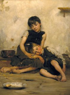 """Thomas Benjamin Kennington (1856‑1916)  """"Orphans"""" to have talent such as this...to make the world stop and see its own soul...."""