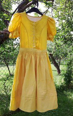 Vintage Yellow Dirndl Folk Prairie Dress  With Apron XS