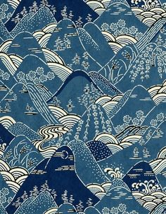 'Mountains', Japanese kimono pattern design, early century / fine art / textile design / pattern inspiration / indigo blue / POLYCHROME is your go-to resource for original print patterns and visionary trend forecasting / line work / fashion design Japanese Textiles, Japanese Patterns, Japanese Fabric, Japanese Prints, Japanese Design, Japanese Kimono, Japanese Art, Japanese Beauty, Vintage Japanese