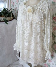 shabby chic clothes | Shabby Chic Clothes Peasant Top Women Large Ivory Lace Blouse (Cami ...