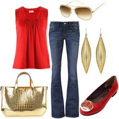 red <3 :) & Gold, created by elizabeth-gwynn