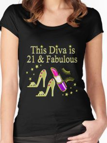 GOLD 21 AND FABULOUS DIVA Women's Fitted Scoop T-Shirt Awesome 21st Birthday T Shirts and Gifts. http://www.redbubble.com/people/jlporiginals/collections/384125-21st-birthday #21stbirthday #21yearsold #Happy21stbirthday #21stbirthdaygift #21stbirthdayTee #happy21st