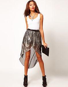 River Island Silver Metallic Wrap Skirt