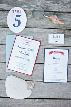 Love! Indian Summer from Matchbook Magazine. Red and Blue Nautical Summer BBQ and Clambake on Nantucket/Cape Cod. Paper Goods by Cherish Paperie