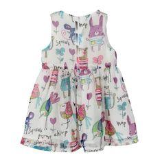 Girls Child One Piece Princess Beauty Dress Skirt Chiffon Print Ruffled Sundress