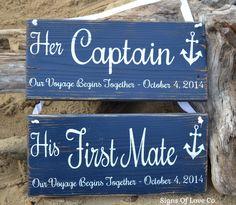 Captain and First Mate Chair Hangers Wedding Decor Beach Wedding Sign nautical anchor wood