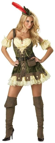 Steal some hearts in this sexy Robin Hood Costume. Featuring a green corset style dress, this women's Robin Hood costume has cream off-the-shoulder sleeves. Sexy Halloween Costumes, Adult Costumes, Costumes For Women, Adult Halloween, Halloween Skirt, Couple Costumes, Girl Costumes, Halloween Ideas, Costume Shop