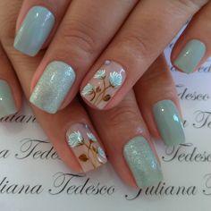 #nailsdesign #unhasdodia #unhasdasemana Elegant Nail Art, Pretty Nail Art, Beautiful Nail Art, Nail Designs Spring, Simple Nail Designs, Nail Art Designs, Square Acrylic Nails, Flower Nails, Toe Nails
