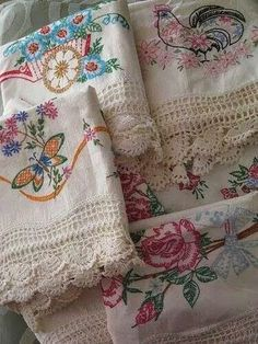 love the flower cart and floral chicken, wide crochet edgeVintage Embroidered Pillowcases. love the flower cart and floral chicken, wide crochet edge Vintage Embroidery, Vintage Lace, Embroidery Patterns, Hand Embroidery, Machine Embroidery, Embroidery Sampler, Christmas Embroidery, Floral Embroidery, Embroidery Stitches