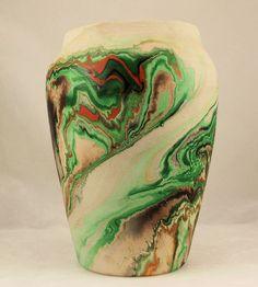 Vintage Nemadji Pottery handmade hand painted vase