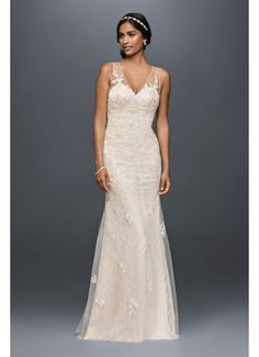b7774dc0b3 Appliqued Tulle Sheath Wedding Dress MS251179 David Bridal Wedding Dresses