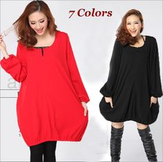 Oversized Jersey Tunic long-sleeved dress LSM46 plus 1x-10x (SZ 16-52)