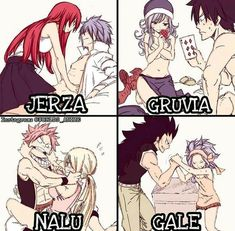 My favorite fairy tail couples! NaLu, Gale, Gruvia, and Jerza! Fairy Tail Funny, Fairy Tail Love, Fairy Tail Nalu, Fairy Tail Ships, Gale Fairy Tail, Couples Fairy Tail, Fairy Tail Family, Fairy Tale Anime, Fairy Tales