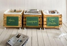 Kitchen Recycling bins/crates with chalkboards Plastic bins are tucked inside so you can easily remove and empty the goods into the big blue bins kept outdoors (and out of sight). #recycling #organize