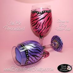 Hand Painted Wine Glass - Zebra Bling Set - Personalized and Custom Wine Glasses for Birthday, Wedding, Party, Special Occasions Decorated Wine Glasses, Hand Painted Wine Glasses, Animal Print Wedding, King Arthur, Hand Washing, White Wine, Jars, Bottles, Just For You