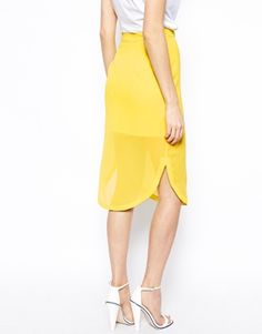 Image 2 of ASOS Curved Hem Sheer Pencil Skirt