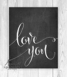 Love You Chalkboard Art Wall Art Wall Decor Home von SpoonLily