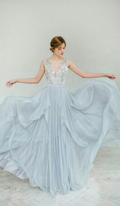 How about a blue wedding dress this time? blue wedding dress so dreamy in this dusty blue wedding gown -- carouselfashion ebsxlom Pretty Dresses, Blue Dresses, Beautiful Dresses, Blue Wedding Gowns, Bridal Gowns, Light Blue Wedding Dress, Dress Wedding, Tulle Wedding, Colored Wedding Dress