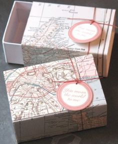 Great for giving a little something - slide box wrapped in vintage map and adorned with a sweet tag: You mean the world to me.    Box is approx. 2.25 x
