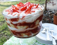 FAT FREE DESSERT - that taste good, wow!    1 angel food cake cut in cubes     24 oz. frozen sliced no suger added strawberries (thawed) add slenda sugar     3 cups Fat Free Vanilla pudding (or 6 individual FF cups)  16 oz Fat Free Cool Whip      - layer cake cubes, strawberries and pudding in large clear bowl     - top off with full layer of cool whip and a few sliced strawberries      - Chill for 4 hrs and serve…….yum!