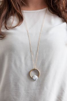 Lange Kette mit Edelstein im Marmor-Stil, Schmuck / long necklace, marble look made by State of A via DaWanda.com