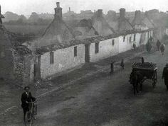 The Burning of Balbriggan: On September 20 th 1920 an attach by the Crown Forces resulted in the destruction of 54 houses and a hosiery factory, as well as the looting of four public houses Old Photos, Vintage Photos, Irish Independence, Michael Collins, Ireland Homes, Dublin Ireland, Album, Tans, History