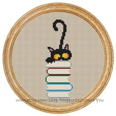 Cross Stitch Pattern PDF cat et livres DD0071 par HappyStitches4You