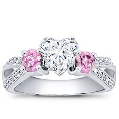 Pink Sapphire Accented Pavé Setting in White Gold - R2771p  Love, love, absolutely love