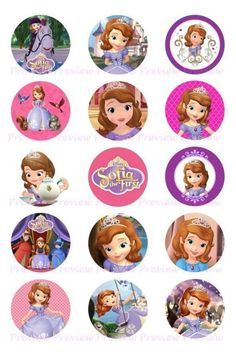 Sofia The First Bottle Cap Princess Sofia Party, Princess Sofia The First, Disney Princess, Princess Birthday, Sofia The First Birthday Party, Tangled Party, Tinkerbell Party, Stencil Printing, Bottle Cap Crafts