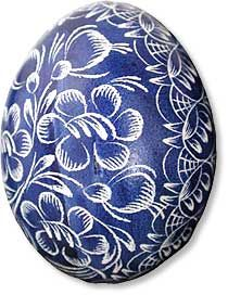 Scrobanki from Poland. The egg is first dyed and the with a fine tip knife the pattern is produced