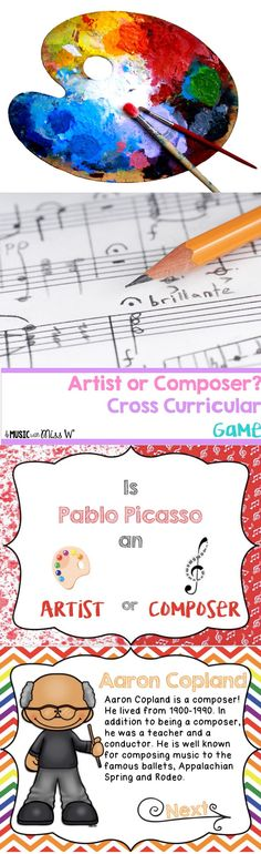 My students love this game! I use it at the end of class and I have put it as a part of my sub tub as well. Students choose whether they think a person is an artist or a composer. When they get the correct answer, a short blurb about the person is displayed.