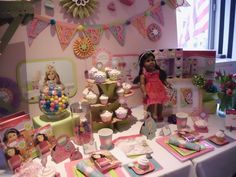 American Girl Crafts has everything you need for girls with American Girl dolls to party together - even the cupcake stand.  http://www.grandmachronicles.com/2012/02/my-early-start-with-toy-fair-2012.html