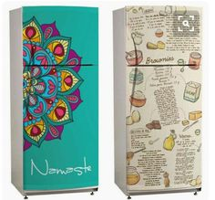 Fridge makeover for the garage Paint Refrigerator, Painted Fridge, Decoupage Furniture, Paint Furniture, Fridge Makeover, Fridge Decor, Idee Diy, Home Projects, Diy Home Decor