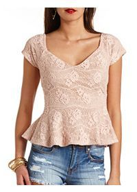 Leather, Strapless & Lace Peplum Tops: Charlotte Russe