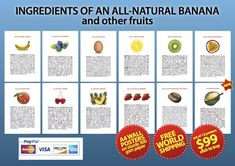 Ingredients of an All-Natural Banana and other fruits set $99