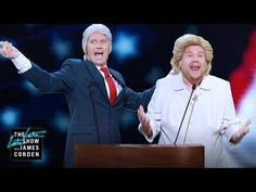 """Watch James Corden, Denis Leary Sing """"Trump's an Asshole"""" Dressed as the Clintons - http://cybertimes.co.uk/2016/08/04/watch-james-corden-denis-leary-sing-trumps-an-asshole-dressed-as-the-clintons/"""