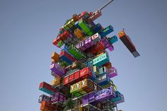 Hive Inn - a unique hotel concept that can grow and shrink in size dependent on the demand for the rooms. Made out of shipping containers stacked in a modular fashion, much like the game Jenga, but on a giant scale. Gloucestershire Resource Centre http://www.grcltd.org/scrapstore/