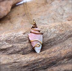 Dainty Arrowhead Necklace   Natural Stone by MermaidTearsDesigns