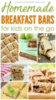 It is important to us that we have healthy snacks to grab when on the go. Come see these 20 homemade breakfast bars for kids on the go! via @carliekercheval